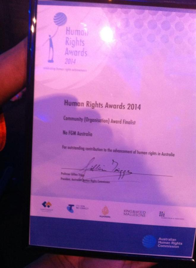 No FGM Australia, Finalis in Human Rights Awards, 2014